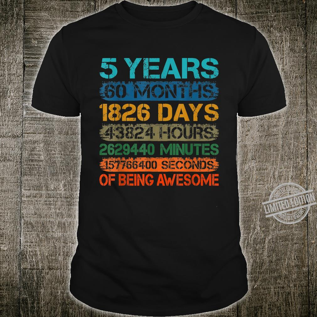 5 Years Old 60 Months 5th Bday Retro Vintage Boy Girl Kid Shirt