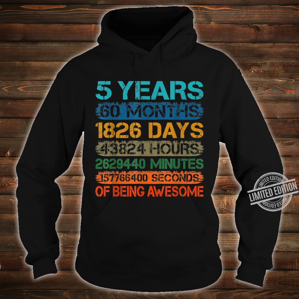 5 Years Old 60 Months 5th Bday Retro Vintage Boy Girl Kid Shirt hoodie