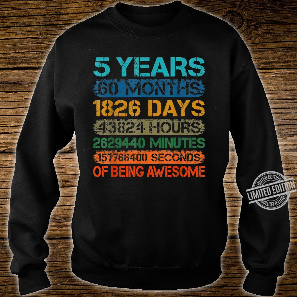 5 Years Old 60 Months 5th Bday Retro Vintage Boy Girl Kid Shirt sweater