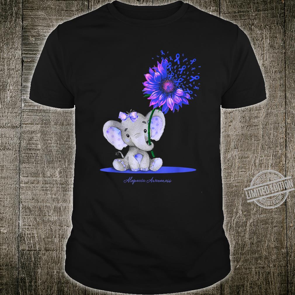 ALOPECIA AWARENESS Cute Elephant Sunflower Blue Ribbon Shirt