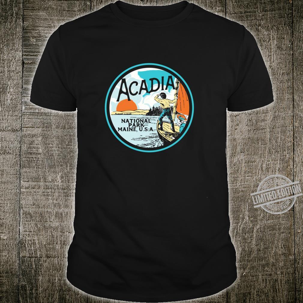 Acadia National Park Retro Maine Coast Illustrated Vintage Shirt