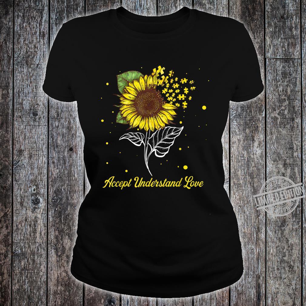 Accept Understand Love Sunflower Autism Awareness Shirt ladies tee