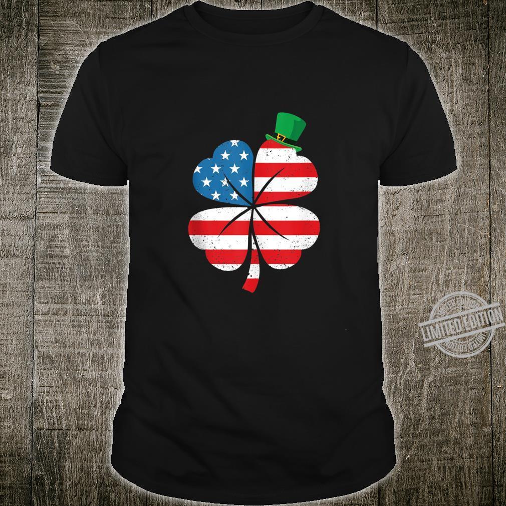 American Flag Clover Leprechaun Hat St Patrick's Day Party Shirt