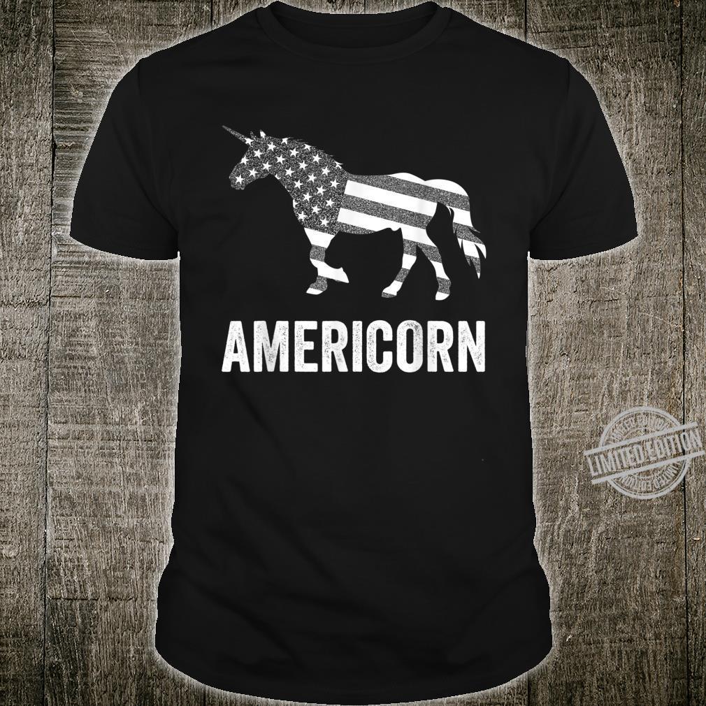 Americorn Unicorn 4th of July Mericorn Merica USA Flag Shirt