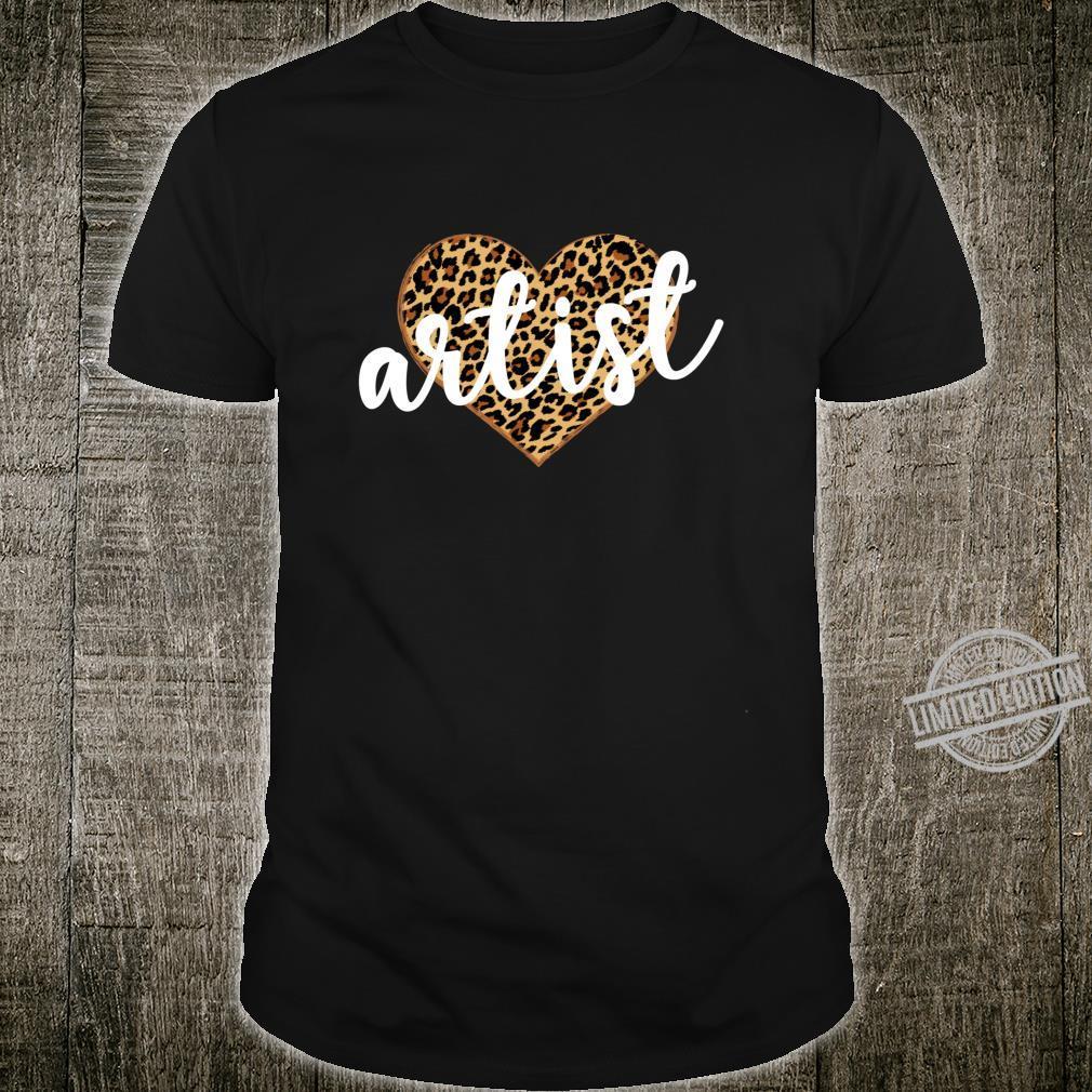 Artist Leopard Print Heart Cute Shirt