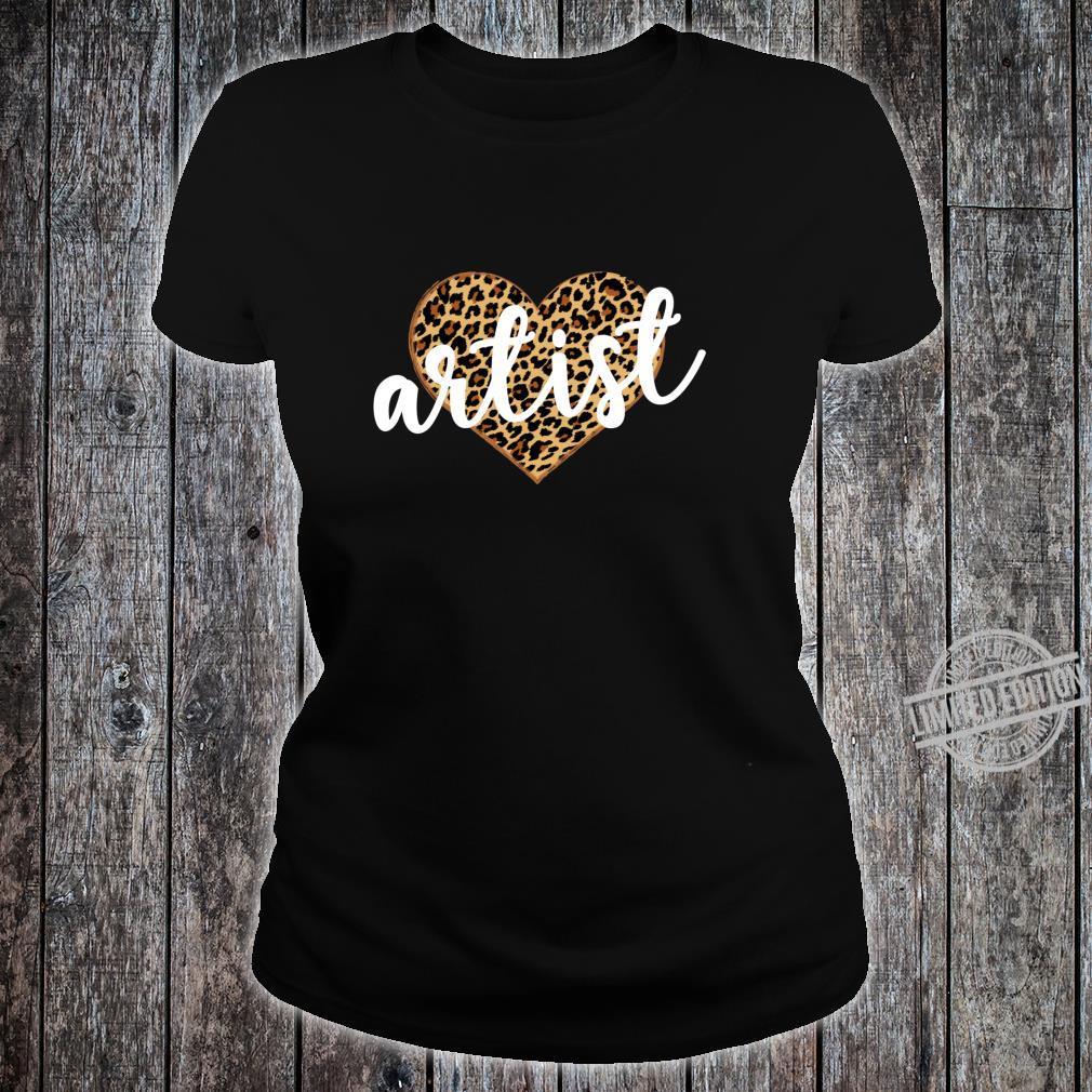 Artist Leopard Print Heart Cute Shirt ladies tee