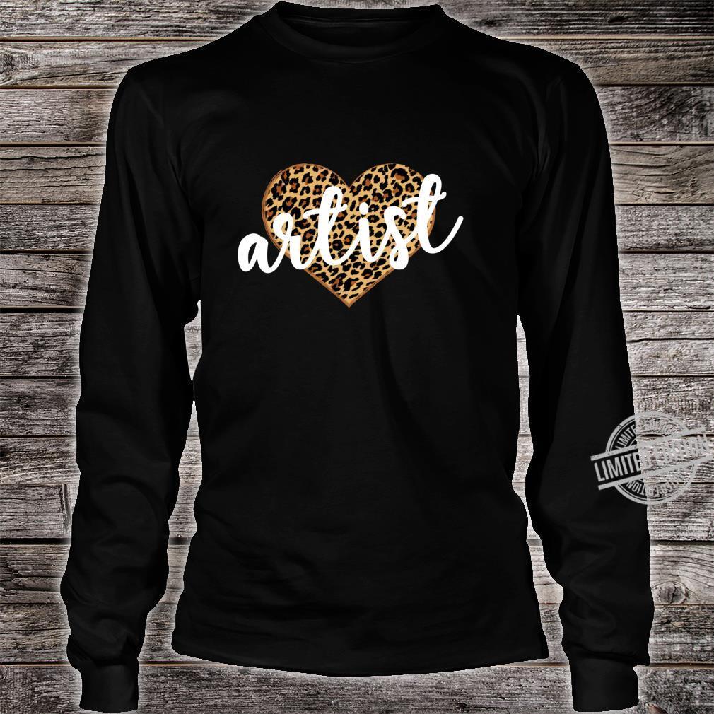Artist Leopard Print Heart Cute Shirt long sleeved