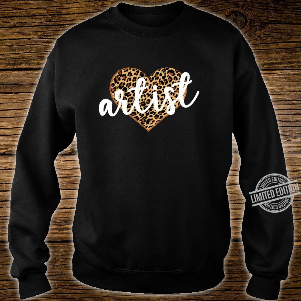 Artist Leopard Print Heart Cute Shirt sweater