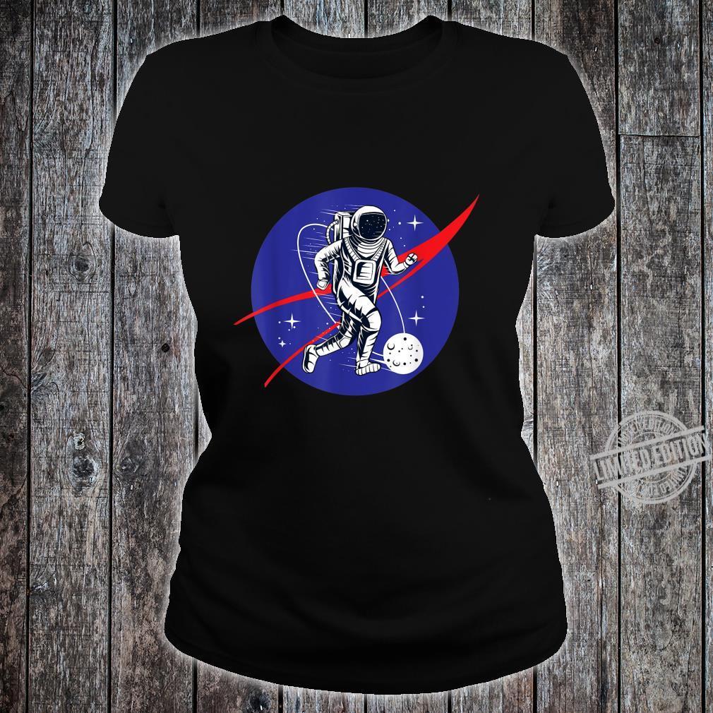 Astronaut Football Soccer Space Moon Galaxy Shirt ladies tee