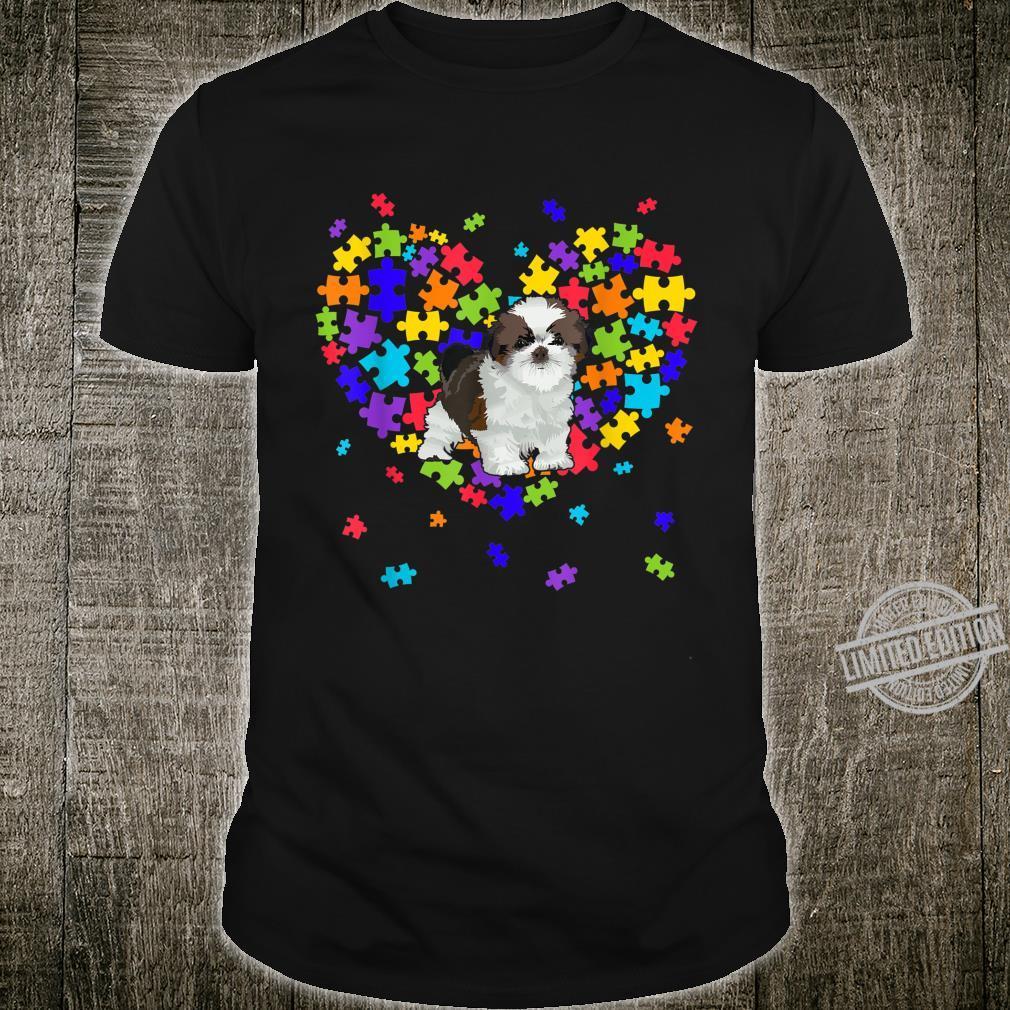 Autism Awareness Shih Tzu Cute Heart Dog Dad Mom Shirt