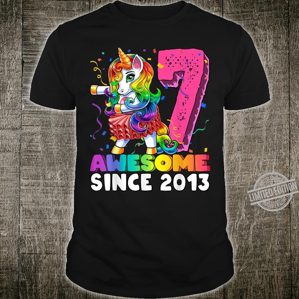 Awesome Since 2013 Flossing Unicorn Tutu 7th Birthday Shirt