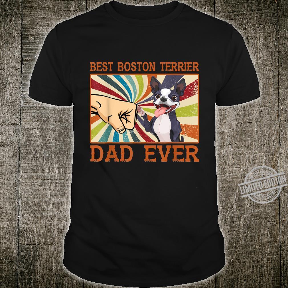 Best Boston Terrier Dad Ever Retro Vintage Shirt