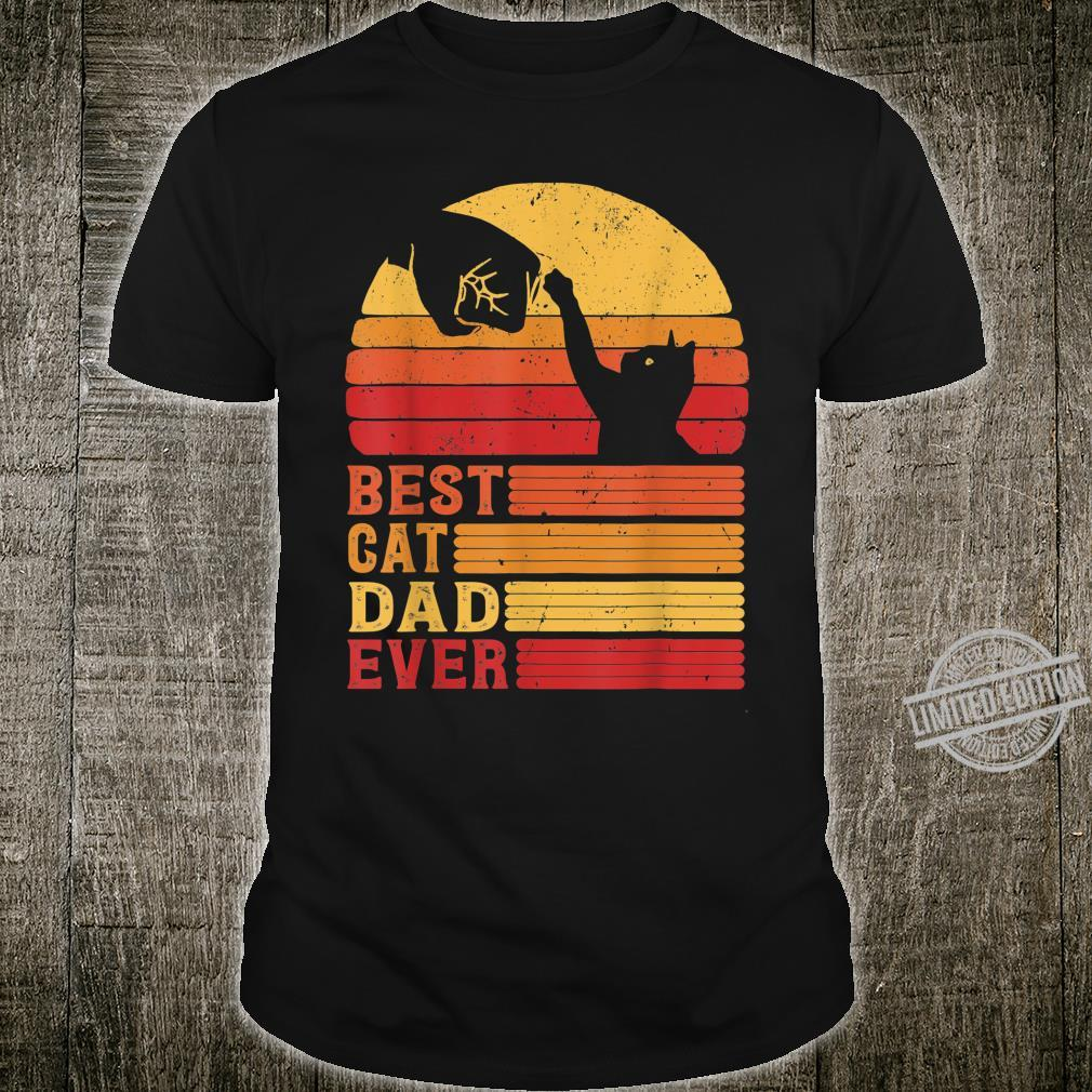 Best Cat Dad Ever Fist Bump Vintage Sunset Fathers Day Shirt