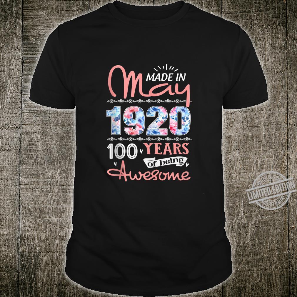 Birthday Floral Born in May 1920 Shirt
