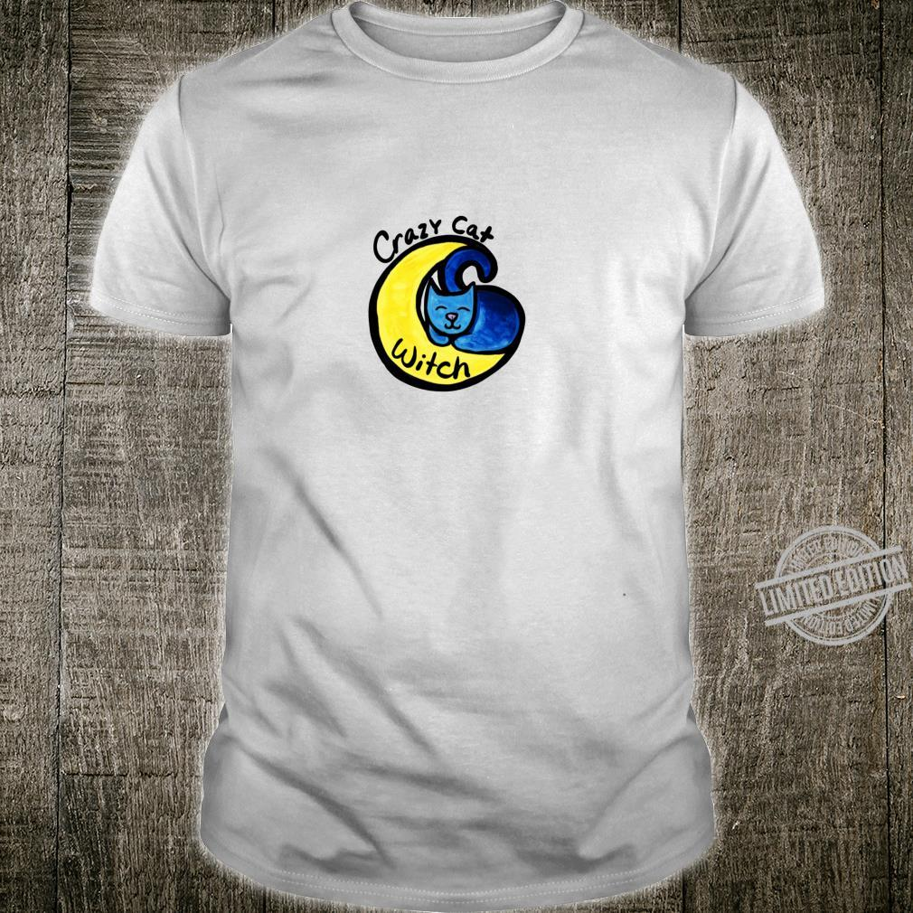 Crazy Cat Witch Blue Moon Langarmshirt Shirt