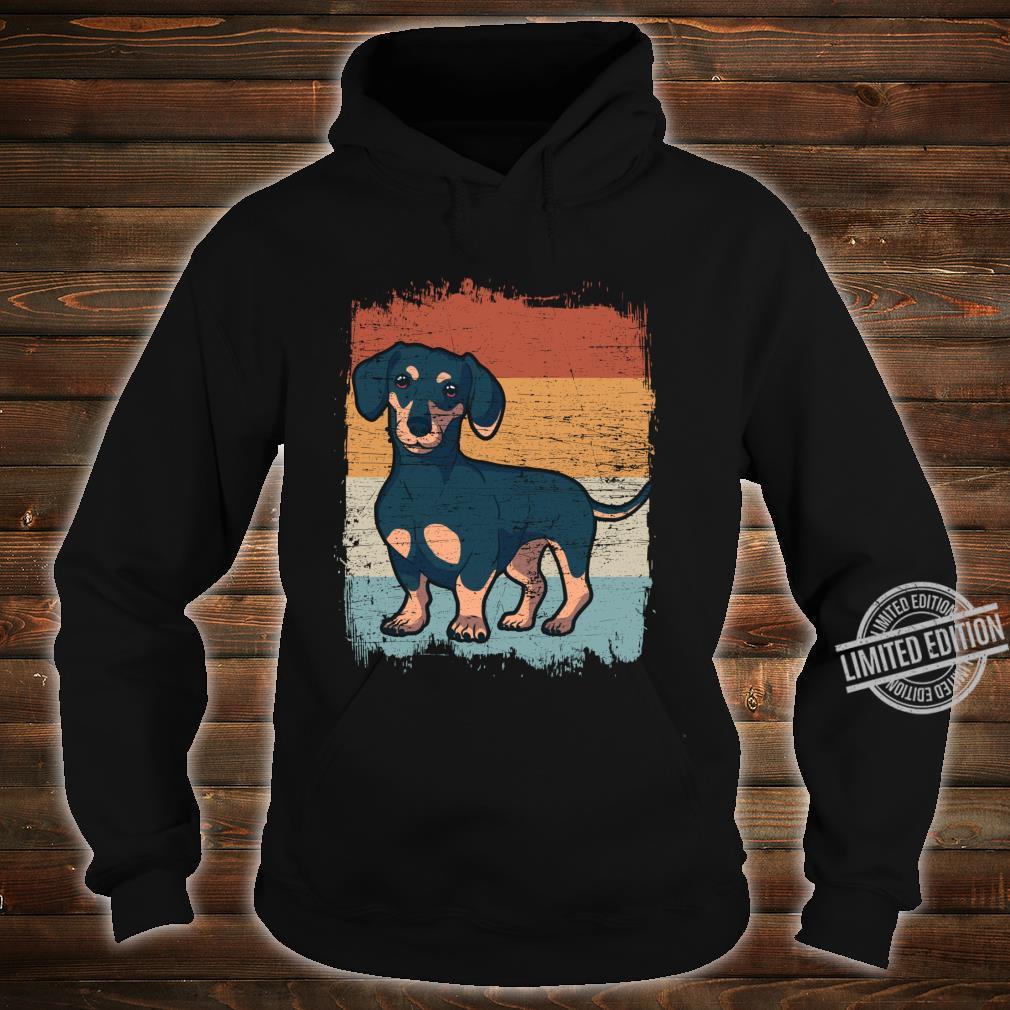Dackel Dackelhund Silhouette Retro Geschenk Langarmshirt Shirt hoodie