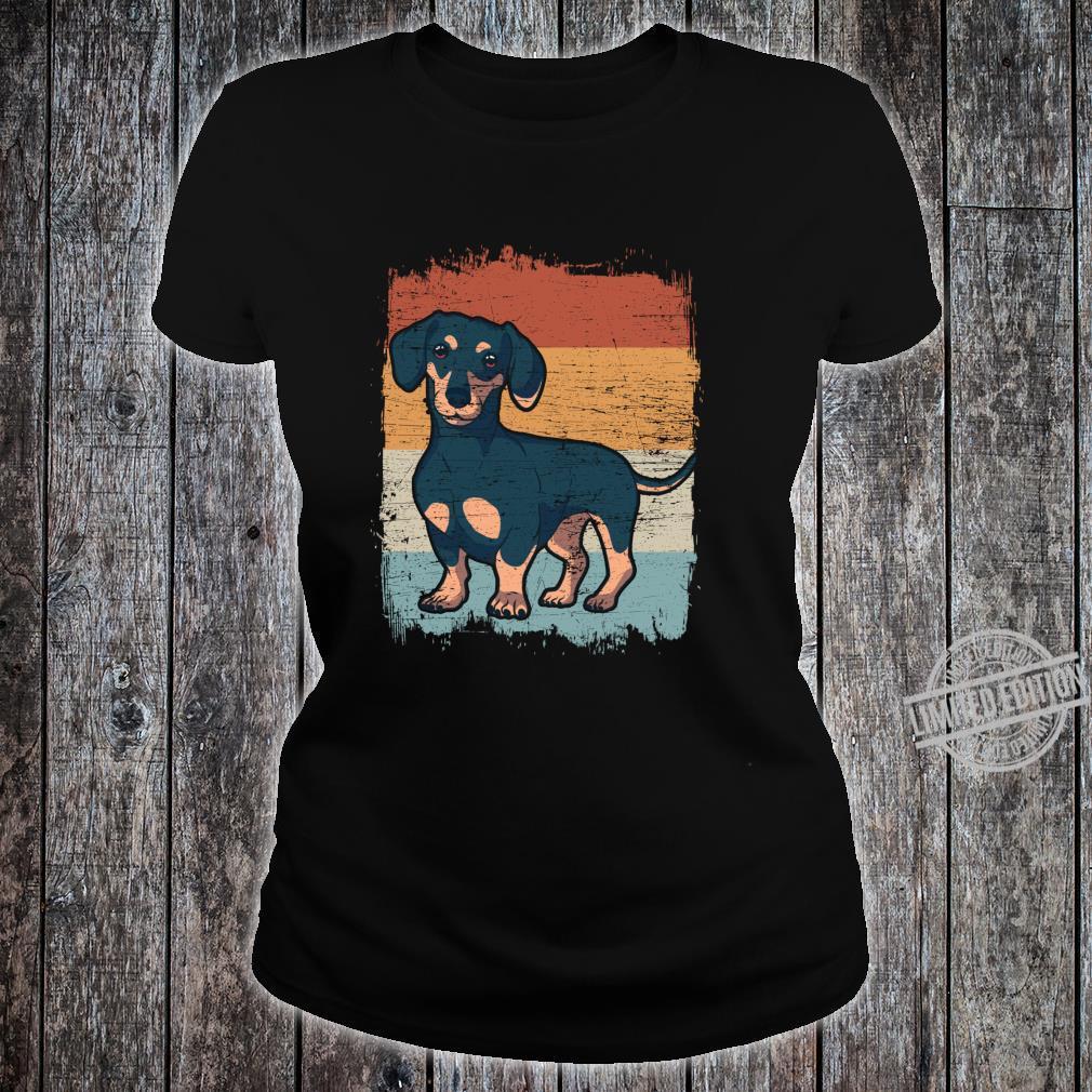 Dackel Dackelhund Silhouette Retro Geschenk Langarmshirt Shirt ladies tee