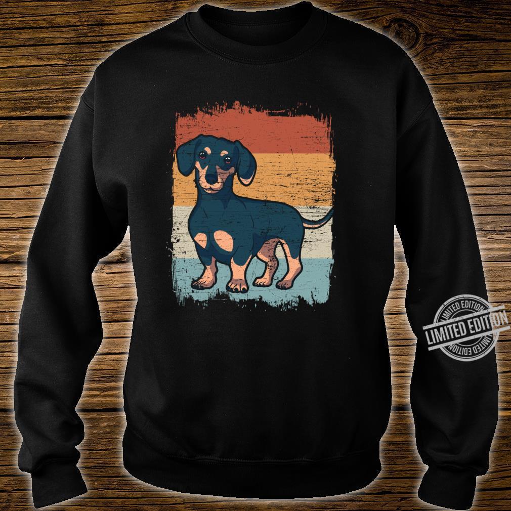 Dackel Dackelhund Silhouette Retro Geschenk Langarmshirt Shirt sweater