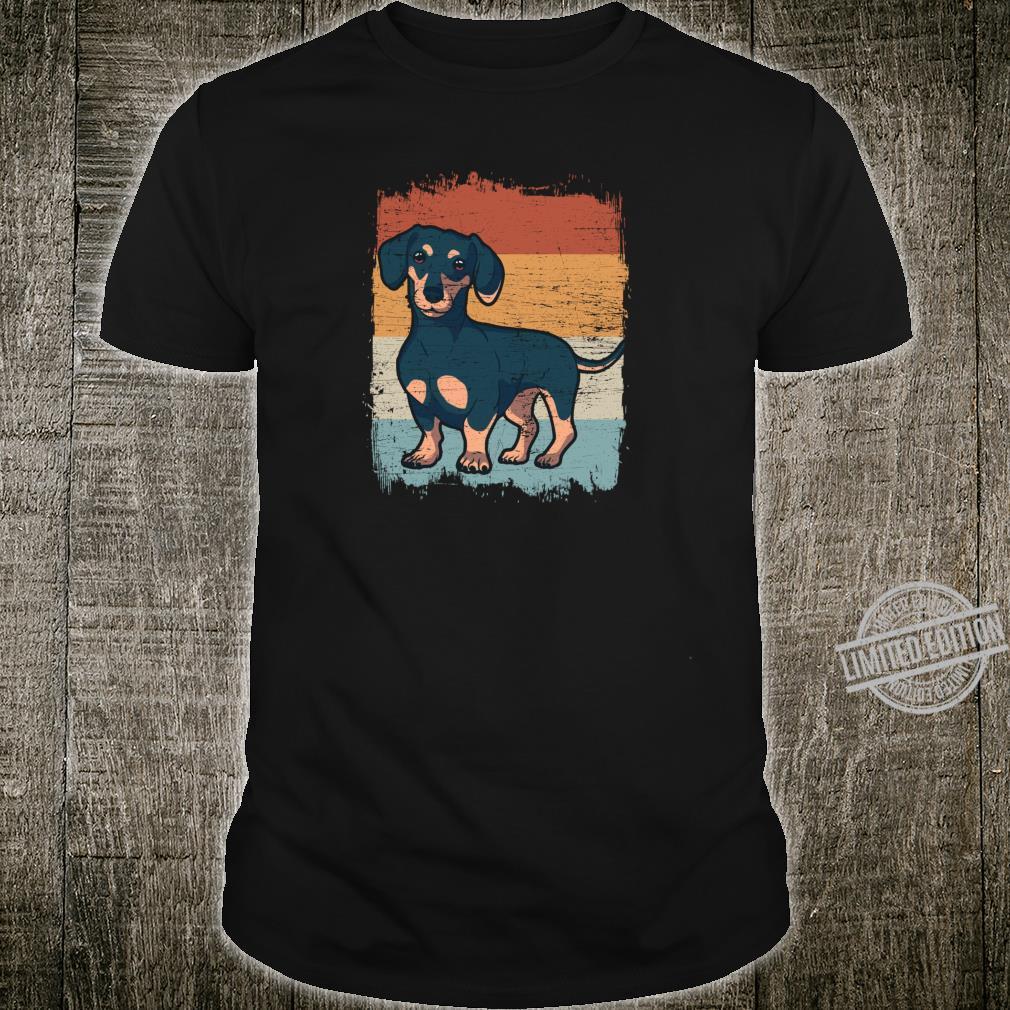 Dackel Dackelhund Silhouette Retro Geschenk Shirt