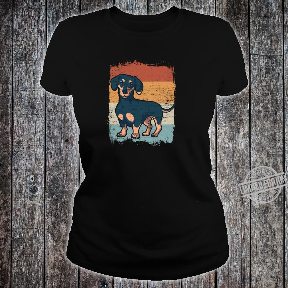Dackel Dackelhund Silhouette Retro Geschenk Shirt ladies tee