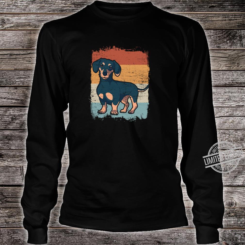 Dackel Dackelhund Silhouette Retro Geschenk Shirt long sleeved