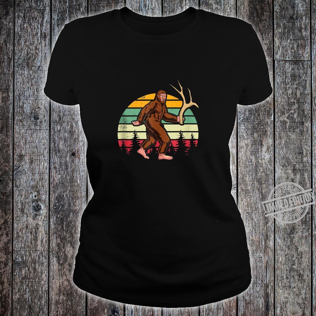 Elk Moose Antlers Sasquatch Bigfoot Shed Hunting Shirt ladies tee