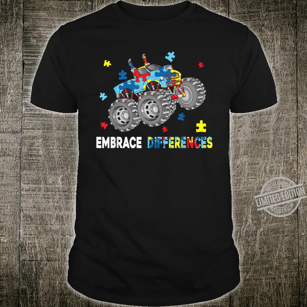 Embrace Differences Monster Truck Cute Autism Awareness Shirt