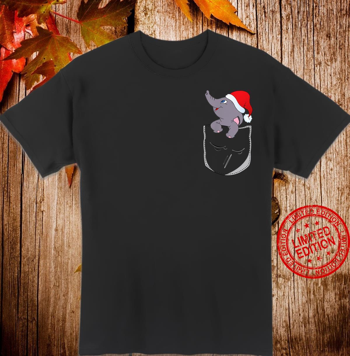Funny Elephant In The Pocket Christmas Hat Santa Xmas Shirt