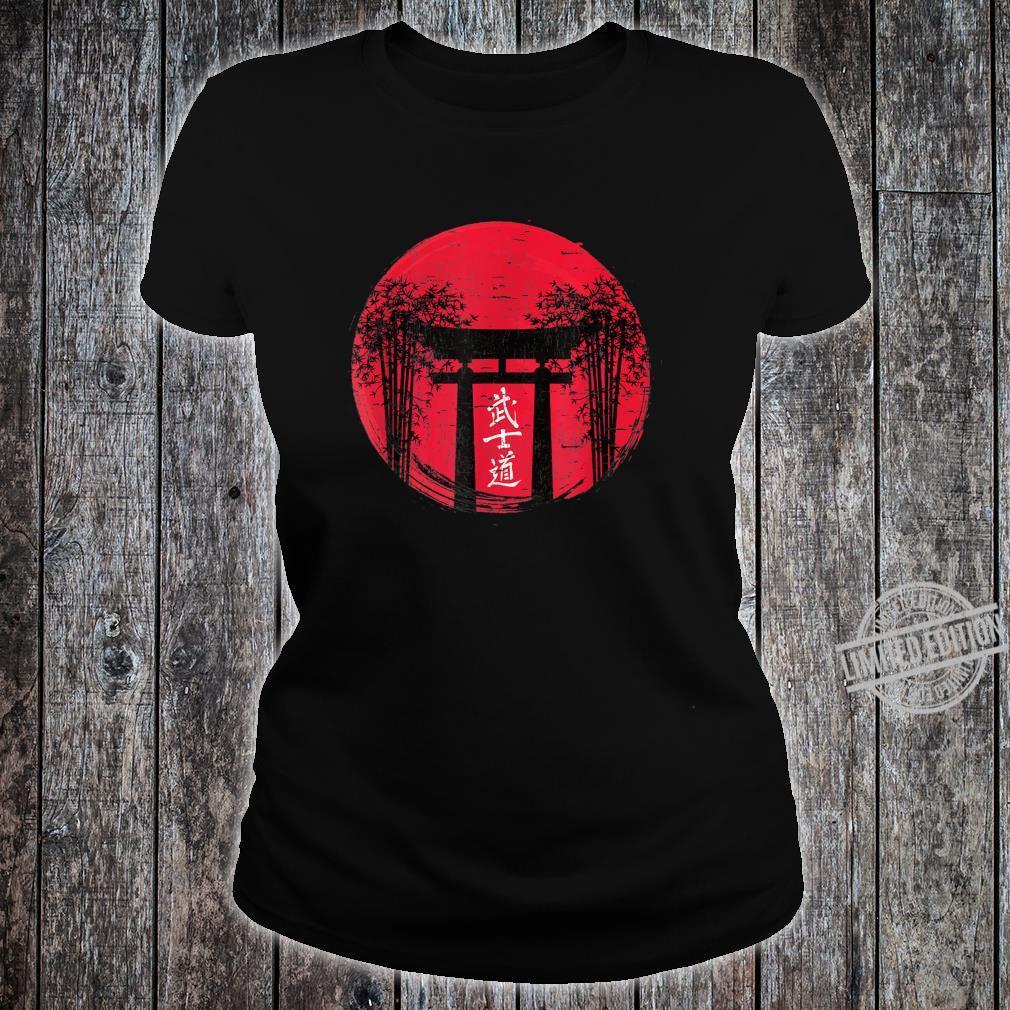 Japanese Red Sun Japan Bushido Shrine Vintage Retro Shirt ladies tee