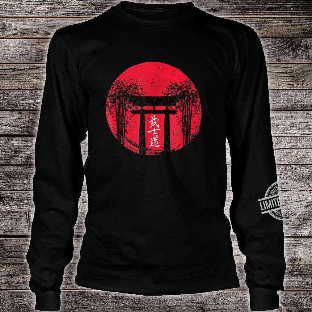 Japanese Red Sun Japan Bushido Shrine Vintage Retro Shirt long sleeved