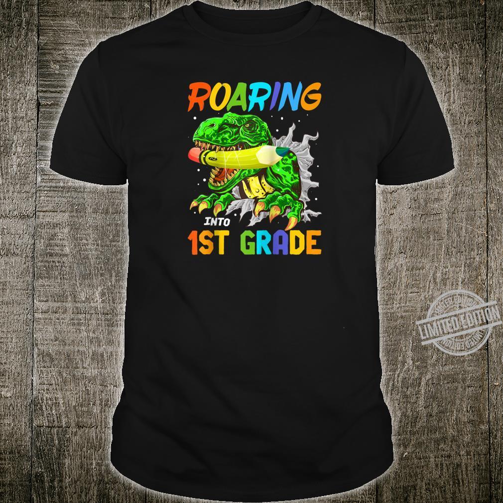 Roaring Into 1st Grade TRex Dinosaur Boys Back To School Shirt
