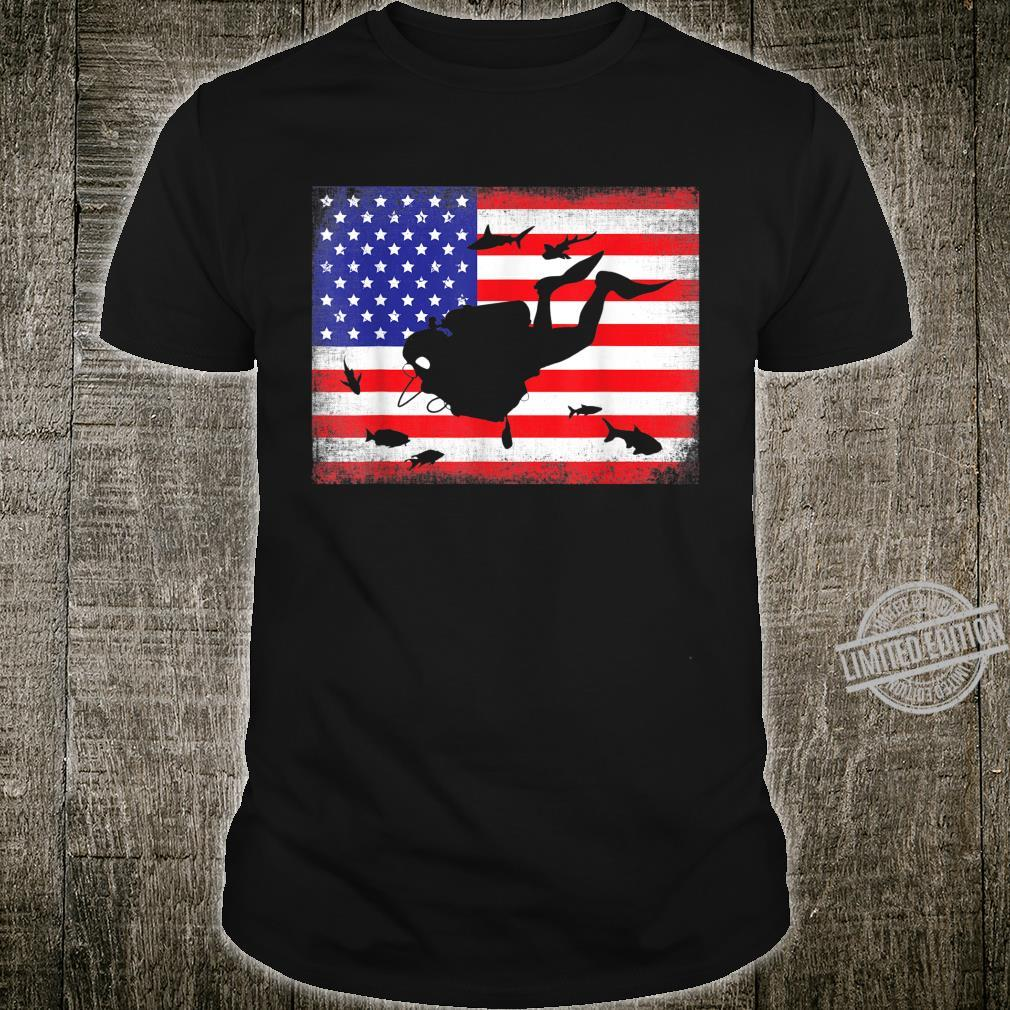 Scuba Diver Dive Flag Scuba Diving American Flag Shirt