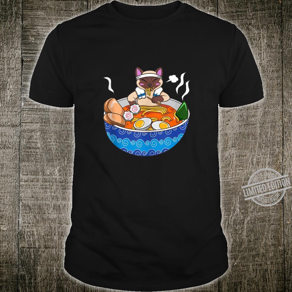 Siamese Cat Chillin Ramen Kawaii Japanese Food Otaku Shirt