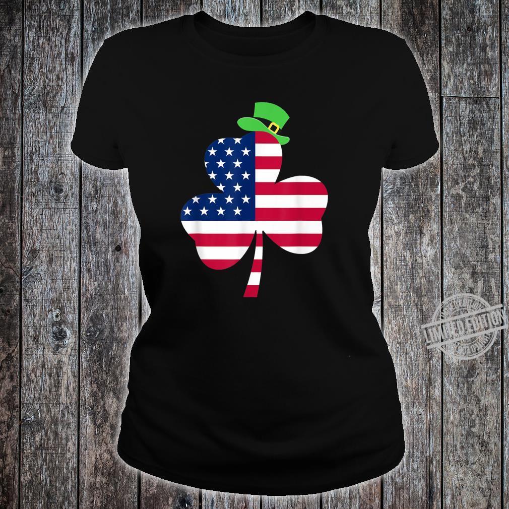 St. Patrick's Day Irish American Flag Ireland Shamrock Shirt ladies tee