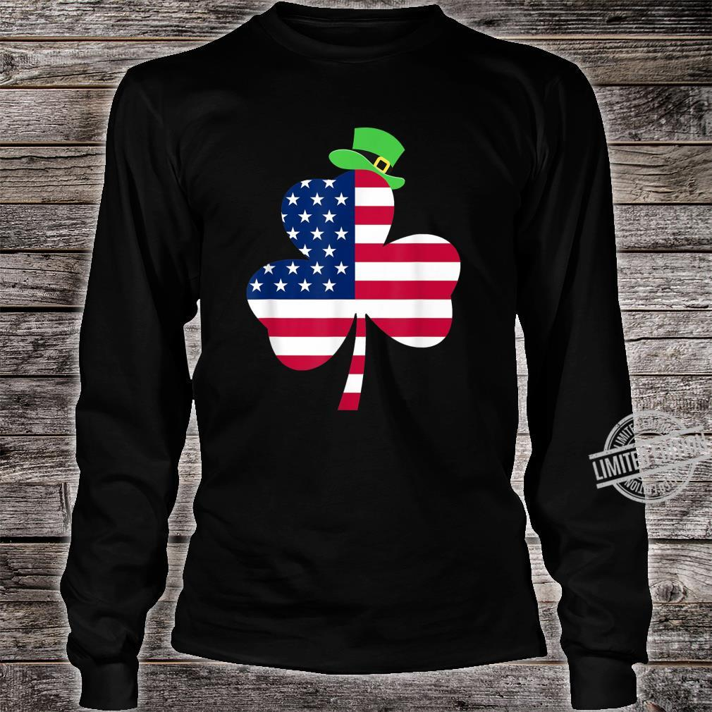 St. Patrick's Day Irish American Flag Ireland Shamrock Shirt long sleeved