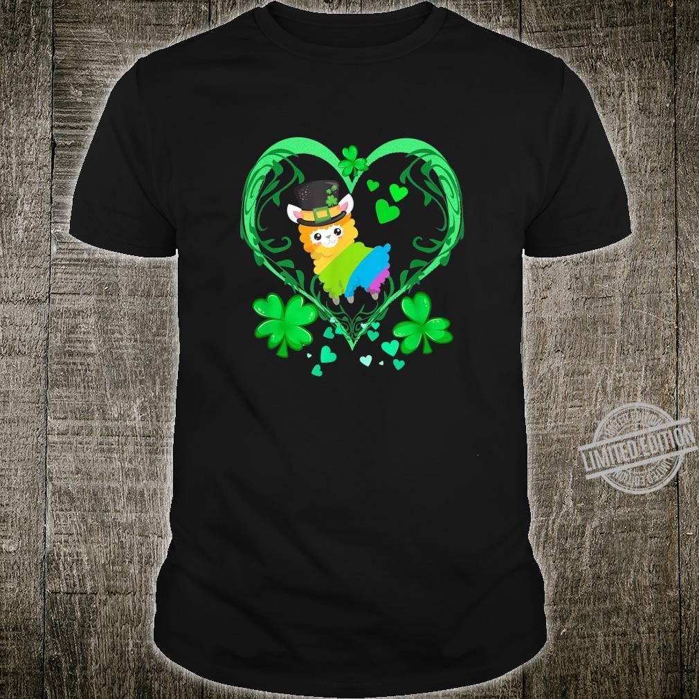 St. Patricks Day Llama Shirt Cute Llama Green Heart Design Shirt