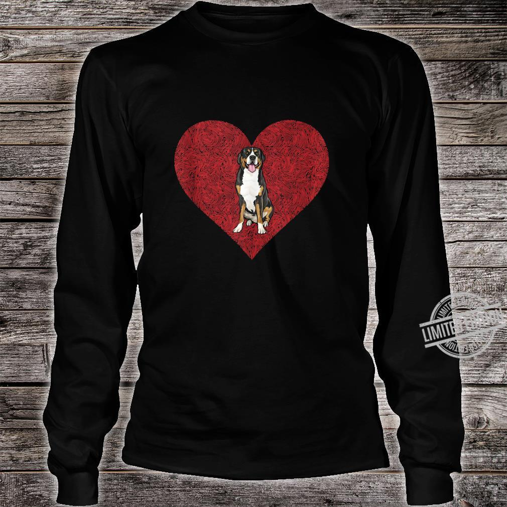 Swiss Mountain Dog Valentines Day Dog Love Fingerprint Shirt long sleeved