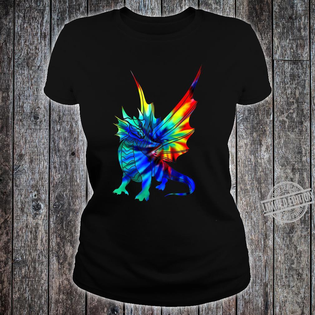 Tie Dye Dragon Cute Brushed Firedrake Shirt ladies tee