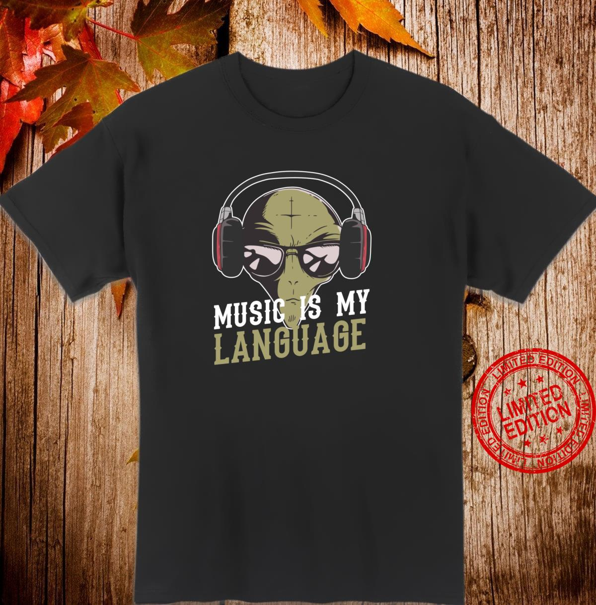 Vintage Music Is My Language Alien And Headphone Musician Shirt