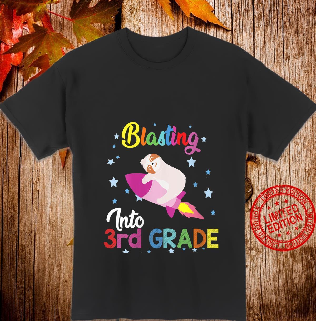 Womens Blasting into 3rd grade Sloth back to school Idea Shirt