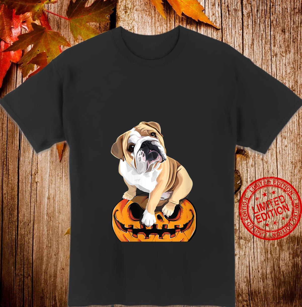 Womens English Bulldog on Pumpkin Halloween Costume Dogs Shirt