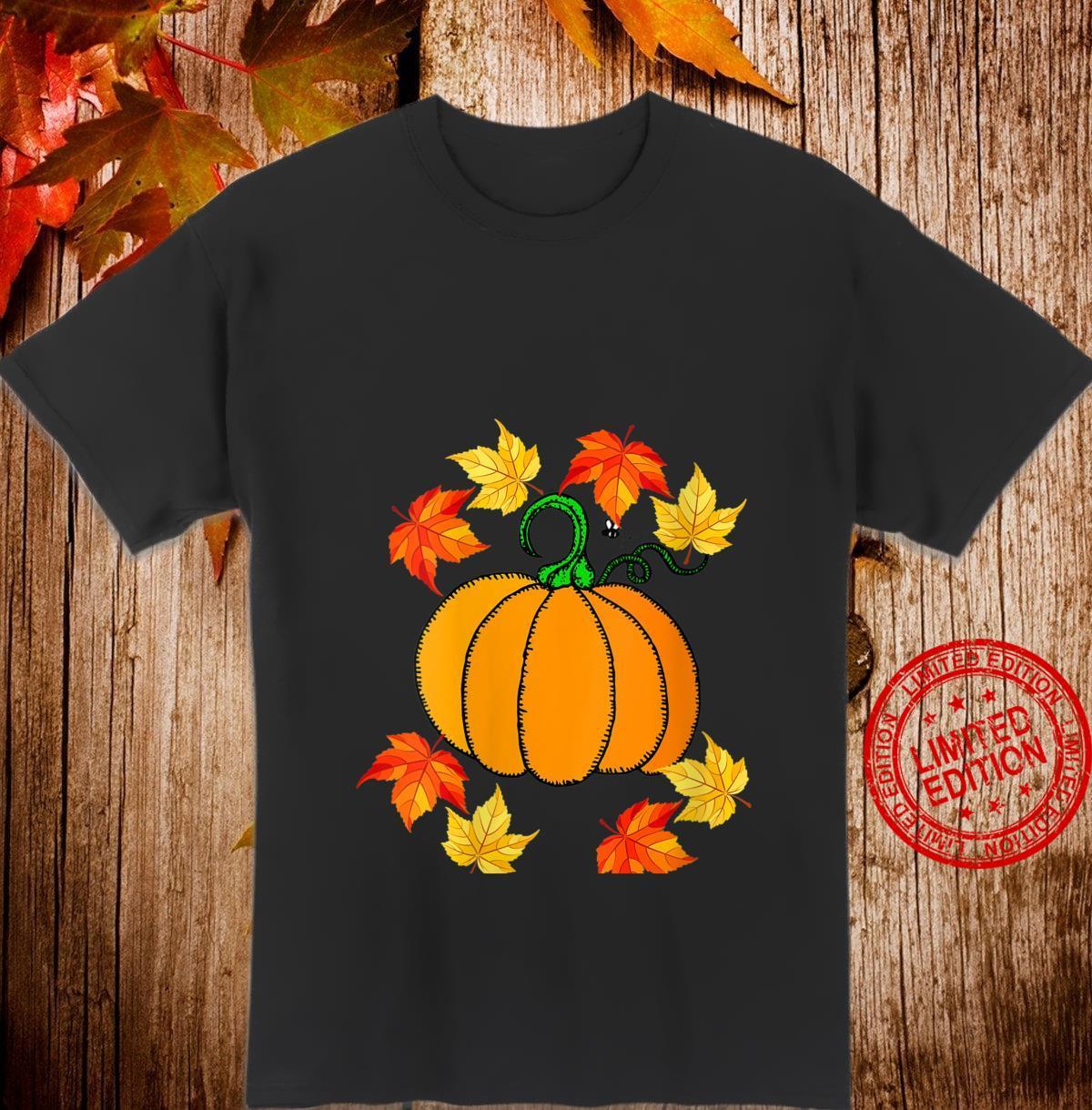 Womens Fall Scene Pumpkin and Leaves Design Shirt