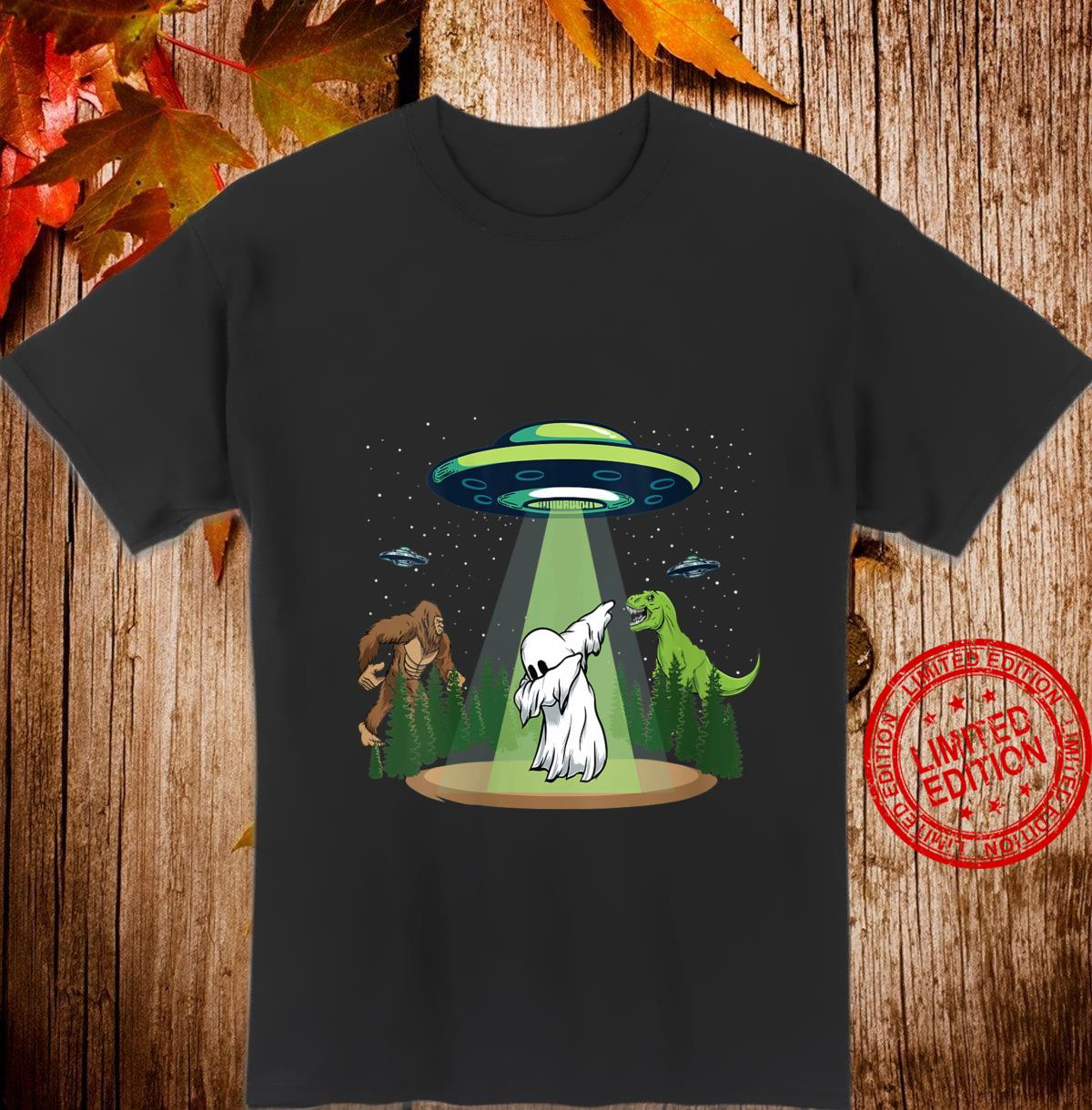 Womens Ghost Dubbing Halloween Bigfoot Dinosaur Alien UFO Shirt