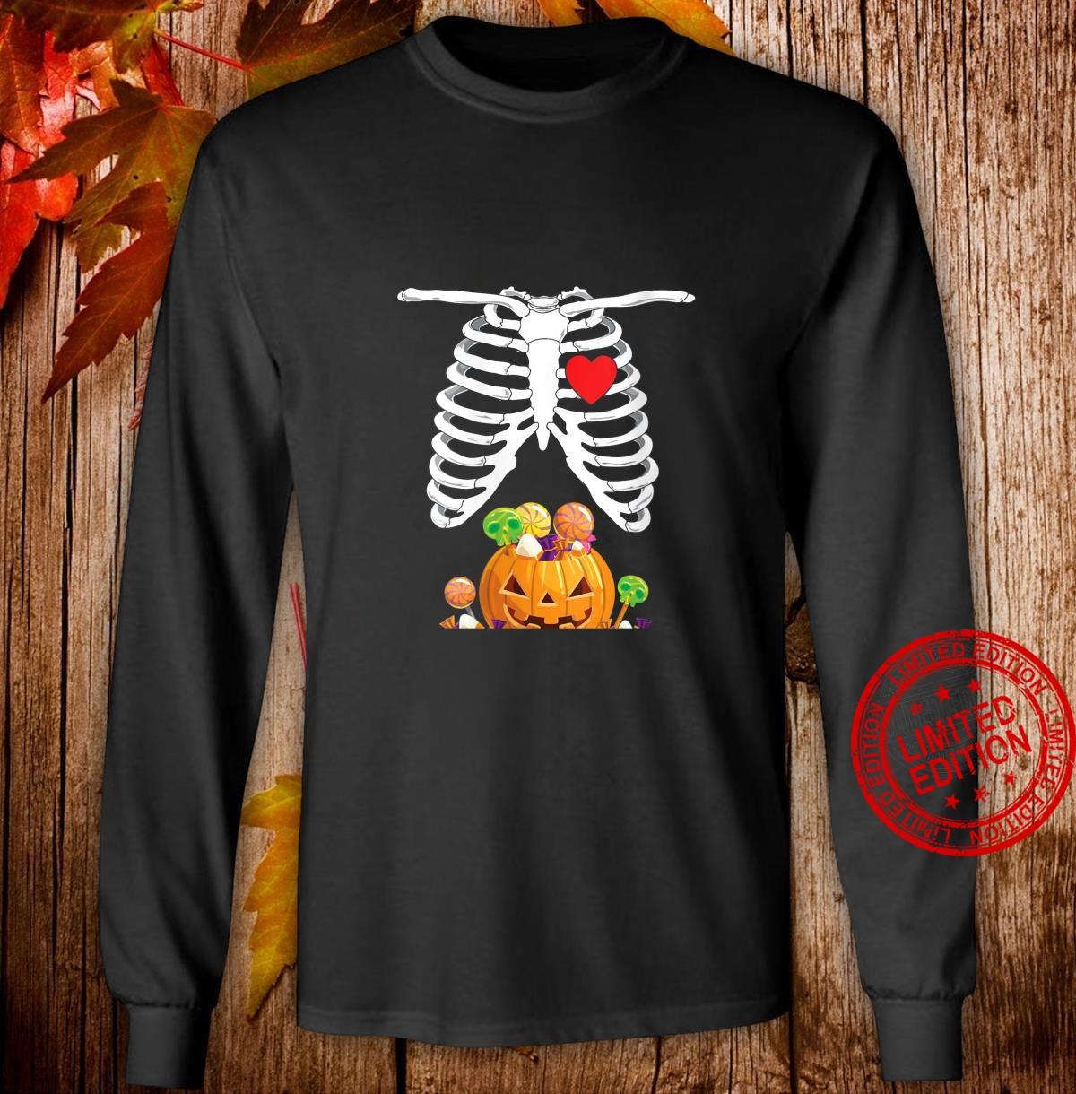 Womens Halloween Pregnancy Shirt Mom To Be Skeleton Shirt long sleeved