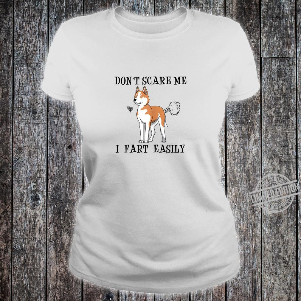 Womens Red Husky Mom Don't Scare Me I Fart Easily Shirt ladies tee